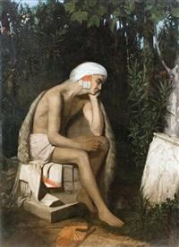 un jeune pâtre découvre un bas-relief antique sur le bord d'un ruisseau où il allait se baigner souvenir de morée dit le berger grec by eugène emmanuel amaury-duval (pineu)