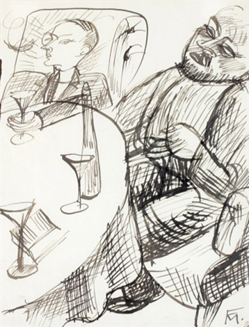 zwei männer an einem tisch by conrad felixmüller