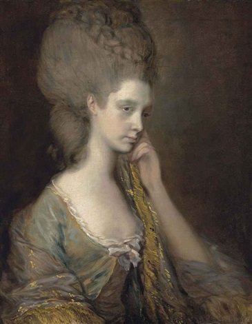 portrait of lady anne thistlethwaite countess of chesterfield 1759 1798 in a blue dress by thomas gainsborough