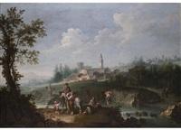 landschaft mit wandernder familie zu pferde und angler an einem fluss mit städtchen am gegenüberliegendem ufer by felice boscaratti