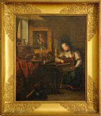 jeune femme dans un cabinet d'amateur by laurent dabos