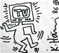 man with television head by keith haring