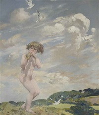 the piper (+ landscape (study), verso) by charles sims