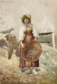 peasant with basket by g. fortunati
