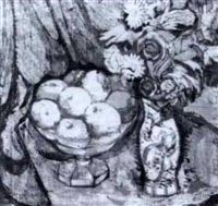 stilleben med frukt och blommor by paul rené gauguin