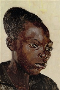 manzale - mambi, ekibondo, portrait of a young girl by rene lesuisse