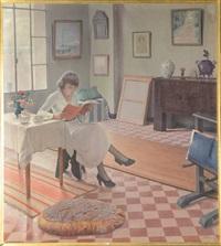 jeune fille à la lecture dans un intérieur by gustave lino