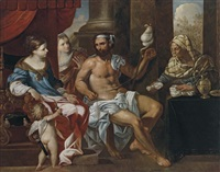 hercules spinning thread in omphale's palace by johann heiss