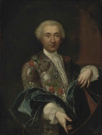 portrait of a gentleman, half-length, in a grey silk jacket, richly embroidered with flowers, lace collar and cuffs, and a blue wrap by carlo amalfi