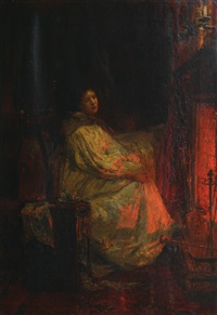 woman by the fire by lionel percy smythe