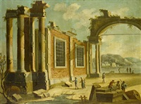 an architectural capriccio with ruined buildings by niccolò codazzi