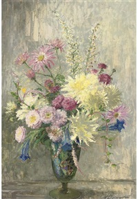 summer flowers in a glass vase by nan c. livingston