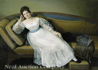 a portrait of a nobelwoman on an empire sofa by carl josef alois agricola