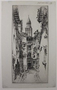 st. paul, alpes maritimes (+ 3 others, 4 works, incl. 1 lithograph, various dates and sizes) by john taylor arms