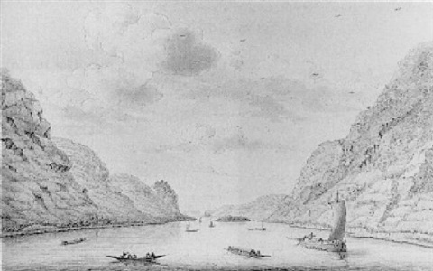 a view of hammersteinerwerth from the rhine looking upstream by hendrick de leth