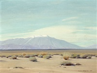 desert with distant snowcapped mountains by clyde forsythe