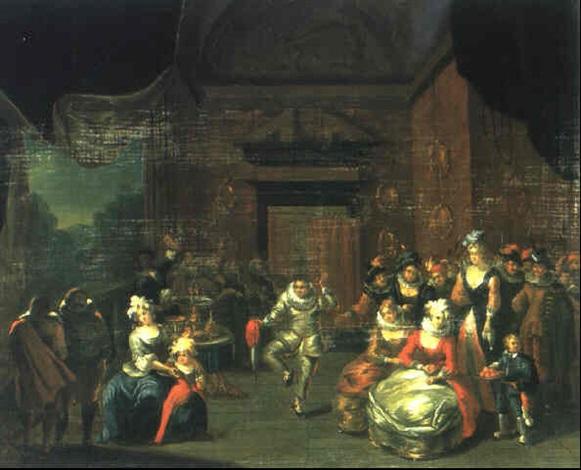 frohliche gesellschaft auf einer schlossterrasse by frans breydel