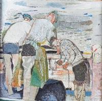 fishermen mending nets by jeffery camp