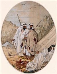 araber auf der rast im wüstengebirge by joseph austin benwell