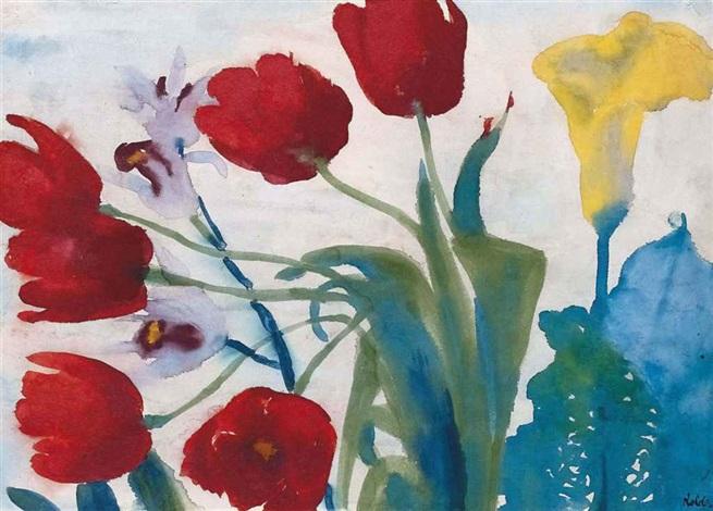 blumen aquarell mit roten tulpen by emil nolde