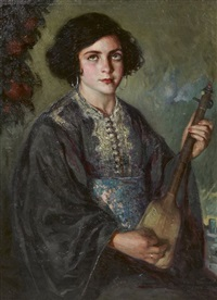 cole espagnole, jeune marocaine au guembri (serenidad), young moroccan girl with a guembri by josé cruz herrera