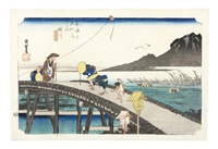 an oban yoko-e print of kakegawa from the hoeido tokaido gojusan tsugi (53 stations on the tokaido road) series by ando hiroshige