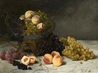 nature morte à la coupe montée, aux pêches et aux raisins by aristide bourel