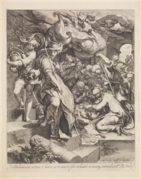 l'adoration des bergers (after abraham blomaert) by andries jacobsz stock