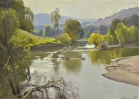 river scene by ernest william buckmaster