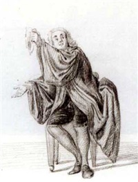 a seated gentleman, his right hand outstretched and holding a handkerchief in his left by nicholaes muys