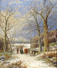 shepherd and sheep by a barn; family and cows in a winter landscape by hendrik barend koekkoek