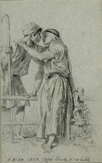 jeune couple d'amoureux (preparatory study for the bible) by alexandre bida