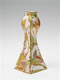 vase (designed by samuel schellink?) (painted by j.w. van rossum) by rozenburg ceramics (co.)