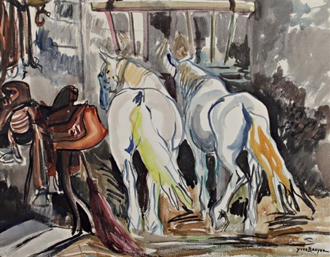chevaux au box by yves brayer