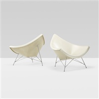 coconut chairs, pair by george nelson & associates