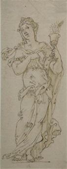 allegorie auf die rhetorik (+ die heilige barbara mit dem hostienkelch; 2 works) by friedrich sustris