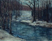 snow at the stream by william henry de beauvoir nelson