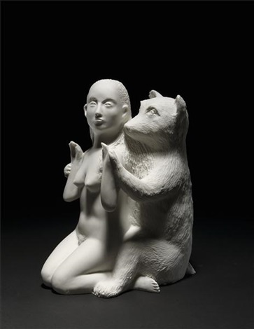woman with bear by kiki smith