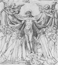 christ standing between two groups of kneeling figures, representing heavenly and worldly authority by philipp uffenbach