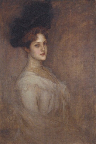 portrait of a lady wearing a black hat and white chiffon dress by richard gerstl
