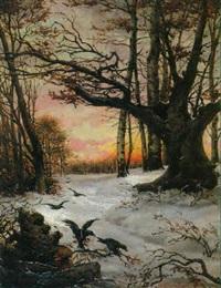 krähen im winterlichen abendlicht by fanny assenbaum
