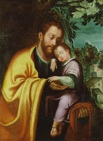 saint joseph with the infant christ by juan fray sanchez y cotan