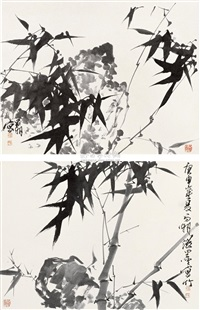 ink bamboo (2 works) by liu changhu