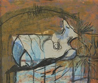 study for reclining stone form by graham sutherland