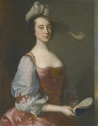 portrait of a lady in van dyck dress by thomas hudson
