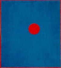 roter kreis auf blauem grund by hans fischli