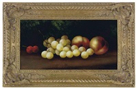 still life of cherries, grapes and peaches on a forest floor (+ still life; 2 works) by edwin steele