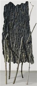 lo spazio della scultura pelle di cedro - chiodo by giuseppe penone