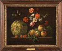 composition de fruits et de fleurs sur un entablement by jean-michel picart