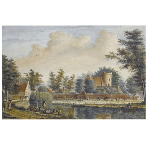 a pair of views of the castle of loenersloot 2 works by theodor dirk verryck